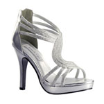 Touch Ups Womens Tuesday Silver Metalllic Platforms Prom and Evening Shoes