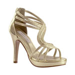 Touch Ups Womens Tuesday Gold Metalllic Platforms Prom and Evening Shoes