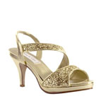 Touch Ups Womens Reagan Gold Metalllic Platforms Prom and Evening Shoes