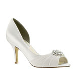 Touch Ups Womens Helen White Satin Pumps Wedding Shoes