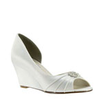 Touch Ups Womens Lee White Satin Wedge Wedding Shoes