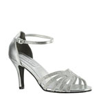 Touch Ups Womens Rapture Silver Glitter Sandals Prom and Evening Shoes