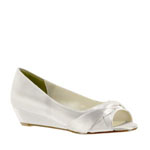 Touch Ups Womens Delish White Satin Wedge Wedding Shoes