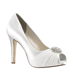 Touch Ups Womens Antonia White Satin Pumps Wedding Shoes