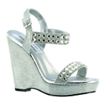 Touch Ups Womens Brynn Silver Synthetic Sandals Prom and Evening Shoes