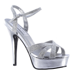 Touch Ups Womens Cori Silver Synthetic Platforms Prom and Evening Shoes