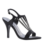 Touch Ups Womens Carmen Black Satin Sandals Prom and Evening Shoes