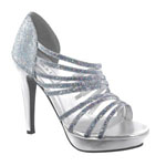 Touch Ups Womens Carey Silver Glitter Platforms Prom and Evening Shoes