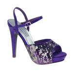 Touch Ups Womens Bev Purple Sequin Sandals Prom and Evening Shoes