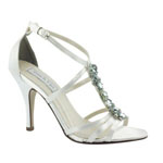 Touch Ups Womens Vanessa White Satin Sandals Wedding Shoes