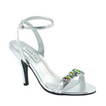 Touch Ups Womens Louise Silver Metalllic Sandals Prom and Evening Shoes