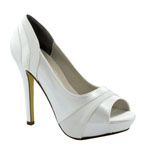 Touch Ups Womens Emmy White Satin Platforms Prom and Evening Shoes