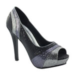 Touch Ups Womens Krissy Silver/Black Synthetic Platforms Prom and Evening Shoes