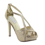 Touch Ups Womens Tiara Champagne Glitter Pumps Prom and Evening Shoes