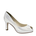 Touch Ups Womens Marissa White Satin Peep/Open Toe Wedding Shoes