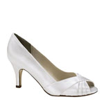 Touch Ups Womens Nona White Satin Peep/Open Toe Wedding Shoes