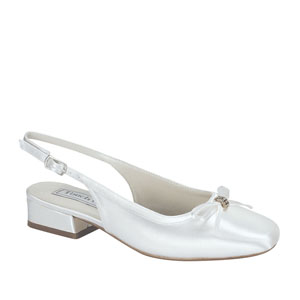 Touch Ups Girls Rosie White Satin Sling Back Flower Girls Shoes