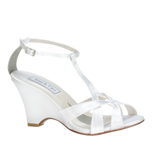 Touch Ups Womens Lucy White Satin Wedge Wedding Shoes