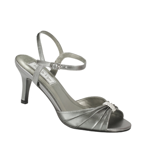 Touch Ups Womens Asher Gunmetal Satin Sandals Wedding Shoes
