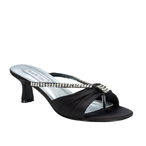 Touch Ups Womens Phoebe Black Satin Slide Wedding Shoes