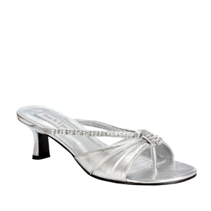 Touch Ups Womens Phoebe Silver Satin Slide Wedding Shoes