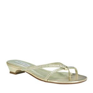 Touch Ups Womens Ashley Gold Metalllic Sandals Prom and Evening Shoes