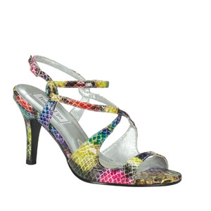 Touch Ups Womens Woodstock Multi-Color Vinyl Sandals Prom and Evening Shoes