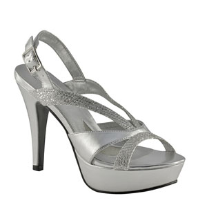 Touch Ups Womens Benita Silver Glitter Platforms Prom and Evening Shoes