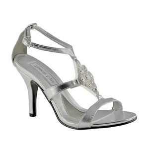 Touch Ups Womens Damaris Silver Satin Sandals Wedding Shoes