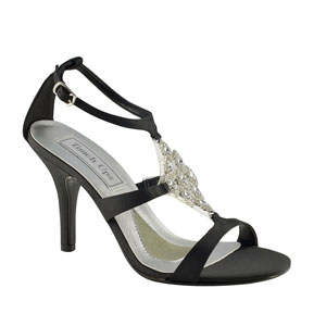Touch Ups Womens Damaris Black Satin Sandals Wedding Shoes