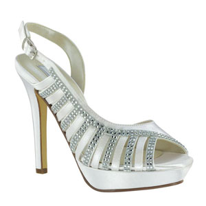 Touch Ups Womens Maureen White Satin Sandals Wedding Shoes