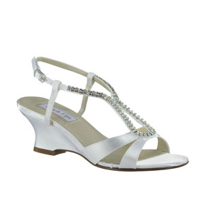 Touch Ups Womens Bernie White Satin Sandals Wedding Shoes