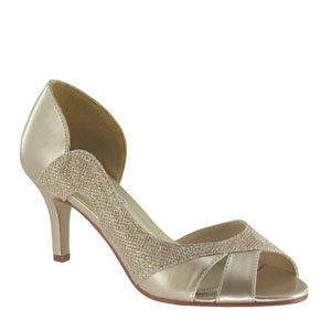 Touch Ups Womens Charlie Champagne Metalllic Sandals Prom and Evening Shoes