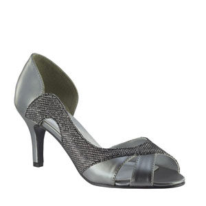 Touch Ups Womens Charlie Pewter Metalllic Sandals Prom and Evening Shoes