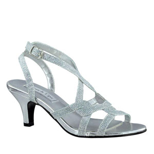 Touch Ups Womens Flatter Silver Synthetic Sandals Prom and Evening Shoes