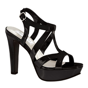 Touch Ups Womens Queenie Black Patent Sandals Prom and Evening Shoes