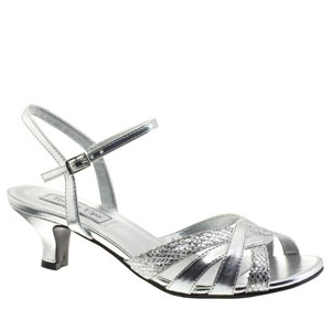 Touch Ups Womens Jane Silver Glitter Sandals Prom and Evening Shoes