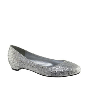 Touch Ups Womens Tamara Silver Glitter Flats Prom and Evening Shoes