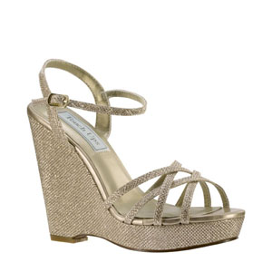 Touch Ups Womens Jaden Champagne Glitter Platforms Prom and Evening Shoes