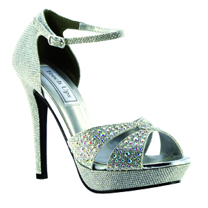 Touch Ups Womens Shelby Silver Synthetic Platforms Prom and Evening Shoes