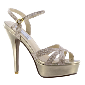 Touch Ups Womens Cori Champagne Synthetic Platforms Prom and Evening Shoes