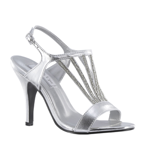 Touch Ups Womens Carmen Silver Synthetic Sandals Prom and Evening Shoes