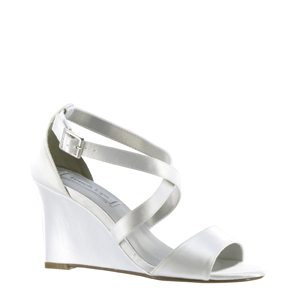 Touch Ups Womens Jenna White Satin Sandals Wedding Shoes