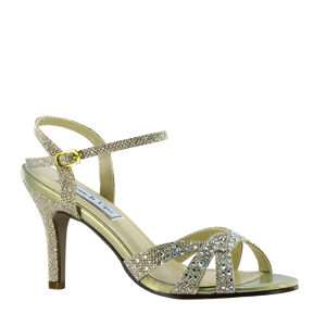 Touch Ups Womens Dulce Champagne Synthetic Sandals Prom and Evening Shoes