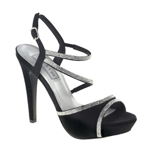 Touch Ups Womens Allie Black Satin Sandals Wedding Shoes