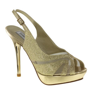 Touch Ups Womens Virginia Gold Glitter Platforms Prom and Evening Shoes