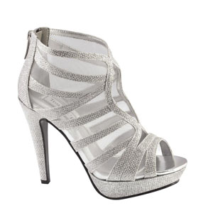 Touch Ups Womens Blake Silver Satin Platforms Prom and Evening Shoes