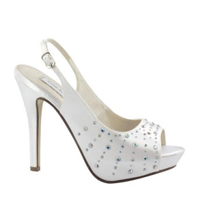 Touch Ups Womens Brooke White Satin Platforms Wedding Shoes