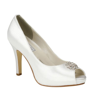 Touch Ups Womens Joyce White Satin Peep/Open Toe Wedding Shoes