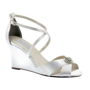 Touch Ups Womens Mickey White Satin Sandals Wedding Shoes